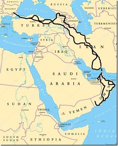 Itinéraire total Asie de l'ouest