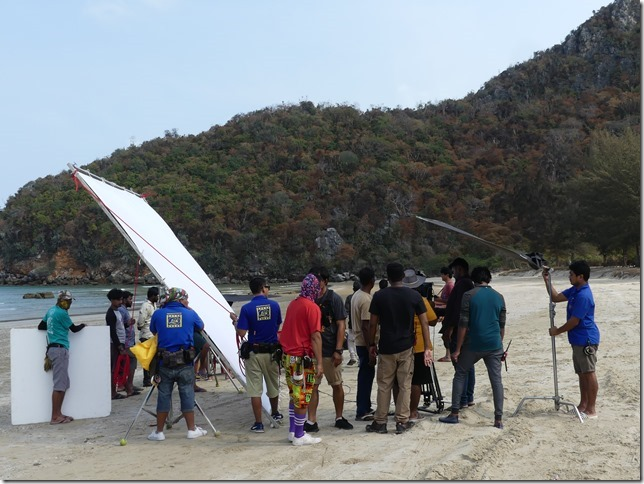 Bivouac plage sud Pran Buri - tournage film indien (21)